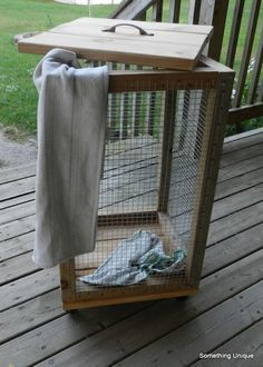 scrap wood and hardware cloth laundry basket