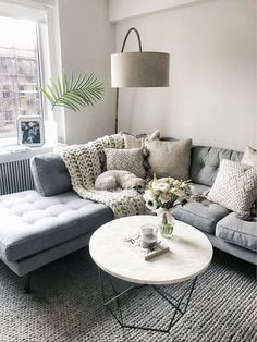 15 Awesome Small Apartment Living Room Design Ideas to Your Inspiration Living Room Sectional, Living Room Grey, Living Room Modern, Living Room Interior, Home Living Room, Living Room Decor, Kitchen Interior, Corner Sofa Living Room Small Spaces, Small Corner Couch