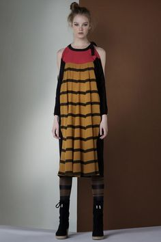 Sonia Rykiel. Would totally wear this with out the boots and tights, add some heels.