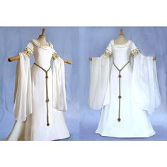 Elf dress AMIDA wedding dress wedding gown of medieval Elf Awen ($675) ❤ liked on Polyvore featuring dresses, gowns, white beaded gown, long sleeve dress, white evening gowns, white fitted dress and long dresses