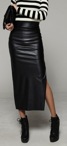 itsme style : Sarah_style woman fashion online wholesale shopping mall, unique long leather skirt