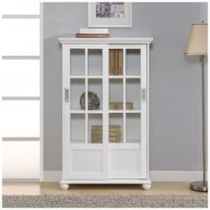 Altra Furniture Aaron Lane Bookcase with Sliding Glass Doors, White