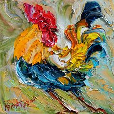 Original oil ROOSTER Dance palette knife painting by Karensfineart