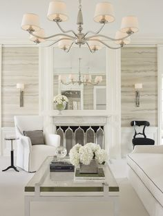 A glamorous Living Room in shade of white, ivory, and cream. Meet New York and Chicago-based architect and designer Joan Craig of Lichten Craig, and get to know more of her gorgeous interiors!
