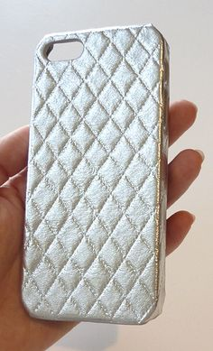 New Iphone SE / Iphone 5 5s Metallic Silver Quilted Phone Case Cover Cellphone Mobile unique accessories Handmade by Yunikuna