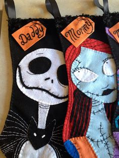 add a custom name to your nightmare before christmas inspired stocking order Outdoor Christmas Decorations, Christmas Themes, Halloween Decorations, House Decorations, Halloween Christmas, Halloween Crafts, Christmas Holidays, Dark Christmas, Christmas 2019