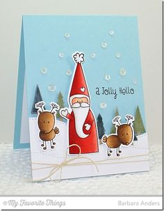 Christmas Cuteness stamp set and Die-namics, Stitched Snow Drifts Die-namics, Tree Lines Die-namics - Barbara Anders #mftstamps