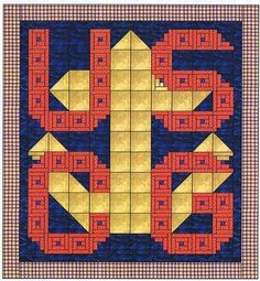 United States Coast Guard Quilt Pattern, Alphabet Soup by AD Designs Navy Quilt, Blue Quilts, Star Quilts, Quilt Blocks, Barn Quilt Designs, Quilting Designs, Quilting Ideas, Cross Stitch Letters, Patriotic Quilts