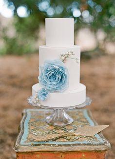 Love the blue flower on the wedding cake