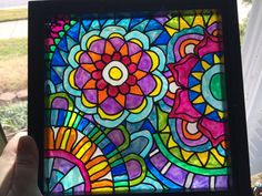Zentangle taken to a whole new place, your window!! With this glass painting it is possible :) Im in love with Zentangles and making new patterns. I hope you enjoy them, too. One piece of glass is painted and then covered with another piece of glass. So its easy to clean and visible from both sides. The painting comes in a black frame that measures 9 x 9 inches, and is ready to be hung in your window or on a wall.    Feel free to ask questions and if you have some time, check out my other…