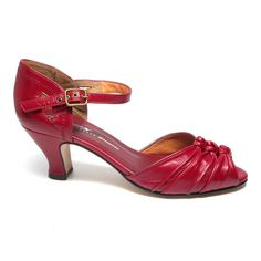 61bd9d1041f A 1920's / 1930's heel with gathered leather vamp, ankle strap, and fluted  heel