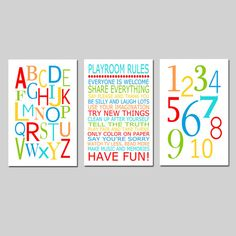 Playroom Rules Alphabet Numbers Set  Kids Wall Art Trio by Tessyla, $65.00