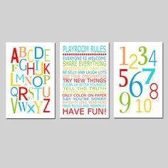 Playroom Rules Alphabet Numbers Set  Kids Wall Art Trio by Tessyla, $65.00