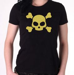 "Glitter skull tee.  ""This fab custom-made gold glitter skull t-shirt is a gothic top with a sparkly twist! If you want some glitter in your life, or are simply after..."""