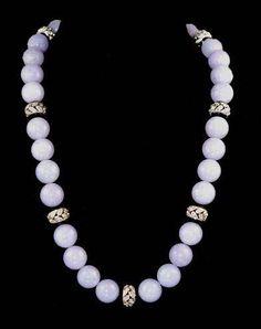 Platinum Lavander Jade Onyx & Diamond Beads Necklace - Yafa Jewelry. Est. Diamond Carat Weight 7.60cts. Lavender Jade Necklace.