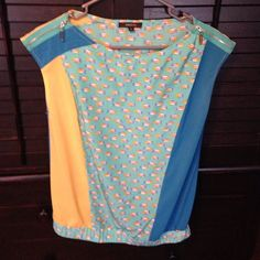 Fish blouse Blue, yellow and teal flowy blouse w fish and zipper detail Radzoli Tops Blouses
