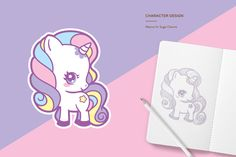 Pastel Unicorn themed logo and brand for Sugar Charms by SugarOverkill