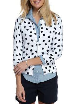 Crown & Ivy™ Women's Dot Print Cardigan - White - Xs