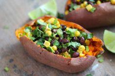 Sweet Potatoes Stuffed with Chipotle Black Bean & Corn Salad