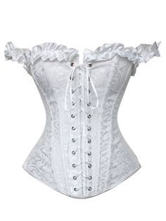 White Wedding Dress Corset Bridal Underwear Boned Overbust Basque Classic Lacing-up Corselet Sexy Bodyshaper Bridemaid Outfits Wedding Dresses Plus Size, White Wedding Dresses, Plus Size Dresses, Corset Underwear, Sexy Corset, Corset Tops, Gothic Corset, Gothic Steampunk, Victorian Gothic