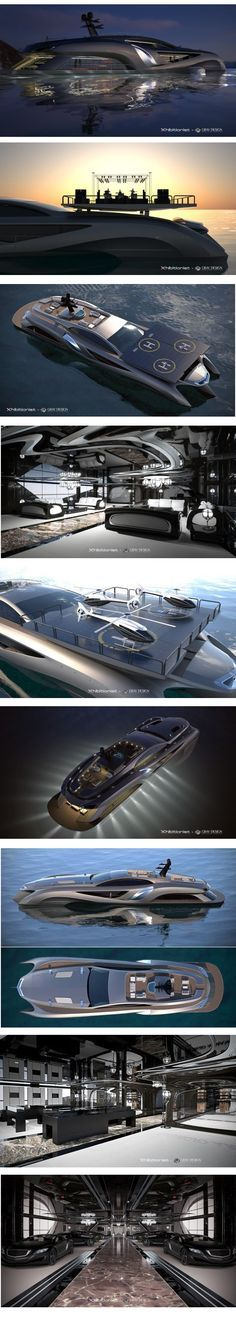 Concept Superyacht Xhibitionist by Gray Design: This extraordinary yacht by is 75-meters in size and decked out with the best of technology and design. Features a car showroom, retail space, entertaining room and a roof with built-in solar panels that double as a helicopter landing pad. On the engine side, it boasts a 630-horsepower V12 engine, making quick getaways a breeze.