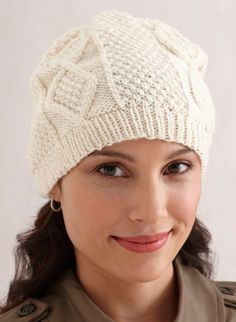 Aran Hat Pattern - Lion Brand,,, why can't I look cute in a hat? If I put that on and took it off I would have to go home immeadiately,,, I'd be a wreck!!!