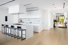 Modern Kitchen with Chroma Flat Panel Cabinet Door, Carrara White Premium Marble Countertop like black on ceiling when a lot of white. Cheap Countertops, Concrete Countertops, Studio Kitchen, Fancy Houses, Countertop Materials, Historic Homes, Cabinet Doors, Home Improvement, Modern