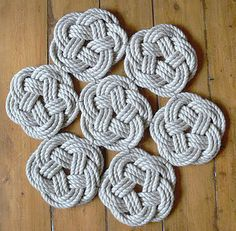Sustainable knotted rope rug (can be made into a DIY project for a bathroom mat specifically)