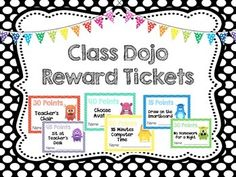 This file contains 24 Class Dojo Reward tickets. Along with the premade tickets… Class Dojo Rewards, Classroom Rewards, Classroom Behavior Management, Behaviour Management, Classroom Organisation, Classroom Fun, Class Management, Organization, Dojo Points