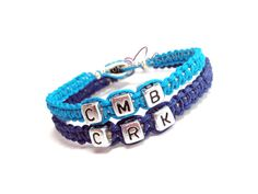 couples bracelets with initials #couples #initials #bracelets #blue #custom #personalized #etsy