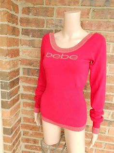 bebe Logo Ladies Sweater Size L Stretch Rayon Top Red/Gold Metallic #bebe #ScoopNeck