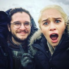 Daenerys Stormborn of House Targaryen: Rightful heir to the Iron Throne, queen of the andals and First Men, protector of the Seven Kingdoms, the Mother of Dragons, the Khaleesi of the Great Grass Sea, the Unburnt, the Breaker of Chains, the taker of this selfie. Jon: Snow. ⚔️