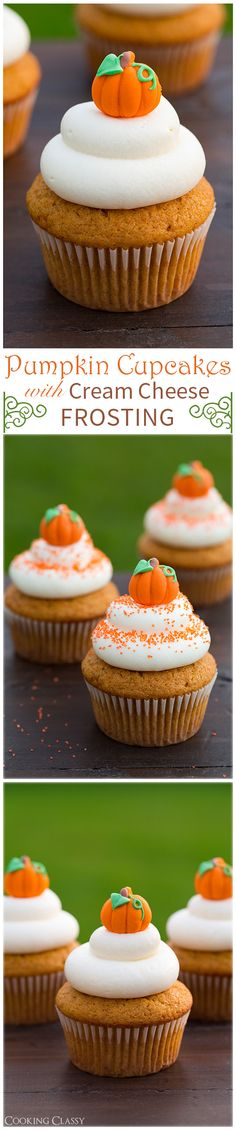 Pumpkin Cupcakes with Cream Cheese Frosting recipe. Topped with a little pumpkin candy - they& such a cute fall treat! Pumpkin Cupcakes with Cream Cheese Frosting recipe. Topped with a little pumpkin candy - theyre such a cute fall treat! Thanksgiving Desserts, Halloween Desserts, Fall Desserts, Just Desserts, Delicious Desserts, Halloween Cupcakes, Thanksgiving Prayer, Thanksgiving Outfit, Thanksgiving Decorations
