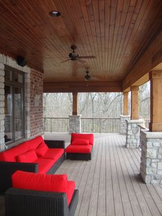 You could embellish your porch with components from your residence style. Add points such as chairs, couches, coffee tables, or perhaps fire pits making it more comfy. Here are 16 terrific ideas you can try in the house. Deck Design, House Design, Carport Patio, Traditional Porch, Kings Home, Stone Pillars, Decks And Porches, Front Porches, Home Porch