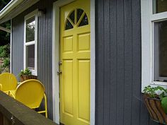 Try a dark hue such as charcoal for the majority of the home exterior, and then add a crisp white trim and a bright door to add a pop of color. Description from pinkandmilk.net. I searched for this on bing.com/images