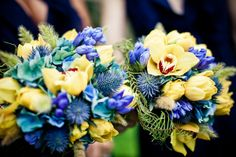 Pretty yellow and blue bouquets at joyful Connecticut wedding with photos by JAG Studios   via junebugweddings.com