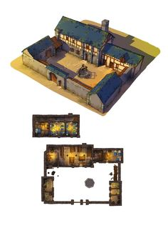Outland Inn & Tavern w stables walls Guillaume Tavernier Small fort barracks or private estate lg Fantasy City, Fantasy House, Fantasy Places, Fantasy Map, Minecraft Creations, Minecraft Designs, Minecraft Blueprints, Minecraft Houses, Building Map