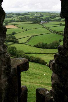Welsh landscape - View from Carreg Cennen Castle, South Wales