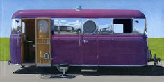 """United Trailer"" x acrylic over photographic pigment print based on a photo by John Atkinson Airstream Campers, Retro Campers, Cool Campers, Vintage Campers, Vintage Rv, Vintage Airstream, Vintage Caravans, Retro Trailers, Vintage Travel Trailers"