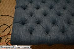 diamond tufted upholstered ottoman - amazing DIY tutorial from Addicted 2 Decorating blog!! Must try