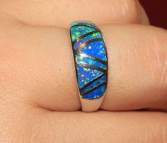 blue fire opal ring gems silver jewelry Sz 8 8.5 wedding engagement band