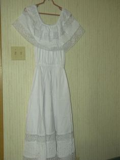 Mexican Fiesta Dress Crisp White Never Worn Beautiful Crochet Full Skirt | eBay