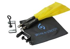 """Work-N-Stretch Products Resistance Band Level 1 with Desk Clamps, Exercise Chart, and Resistance Band Carrying Case. Level 1 Light Resistance Assembly (fits desks or tables up to 2-1/8"""" thick; long clamps shown). The Work-N-Stretch is a """"desk exercise assembly"""" consisting. of an elastic latex free resistance band with foam grip covered. swivel hooks and quick connect clamps that attach to virtually. any desk or table allowing you to tone and stretch your lower body while typing on a…"""