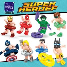 Super Heros 8 pcs D972 Vacances Batman Iron Man Spiderman Robin Captain America Superman Building Blocks Meilleur Enfants #Affiliate