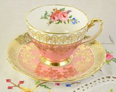 Pink Hammersley cup and saucer, floral teacup, richly gilded teacup