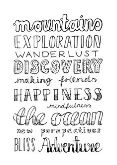 Mountains, discovery and adventure. // Handlettering by www.luloveshandmade.com