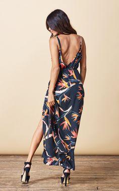 Split Leg Dress In Paradise Birds - SilkFred