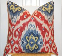 IKAT  Decorative Pillow Cover  Red  Blue  by TurquoiseTumbleweed, $45.00
