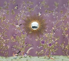 Purple Chinoiserie wallpaper  ( <3 this blog- great for those of us who have always loved Chinoiserie and for those who are surfing the current Hollywood Regency trend.)