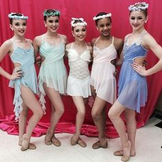 Kendall Vertes, Kalani Hilliker, Madison Ziegler, Nia Frazier, and Chloe Lukasiak ready to perform at last weekends competition on 'DanceMoms' a reality TV show on Lifetime